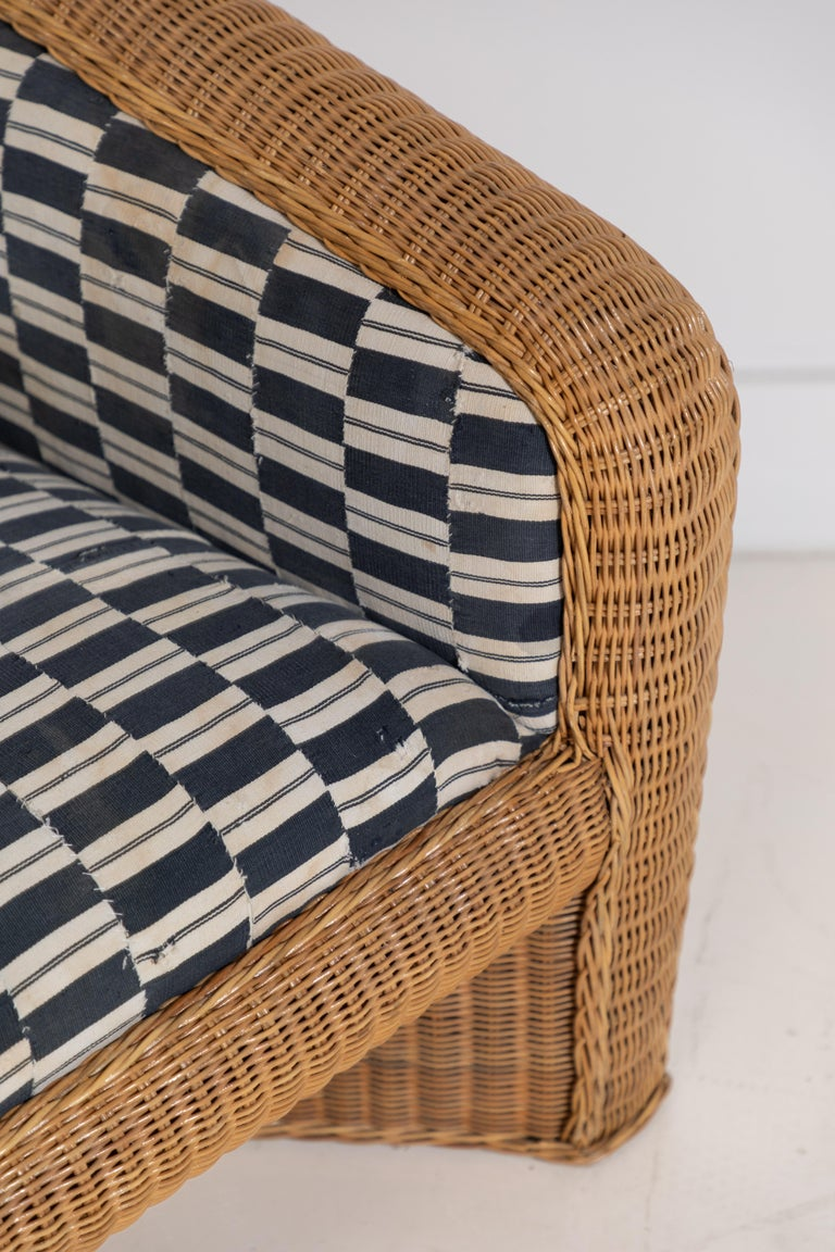 Pair of Wicker Armchairs Upholstered in Nigerian Fabric 6