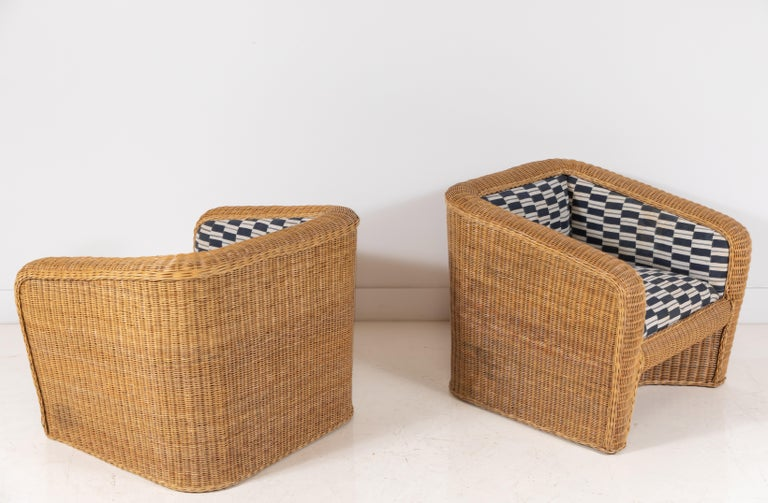 Pair of Wicker Armchairs Upholstered in Nigerian Fabric In Good Condition In Los Angeles, CA