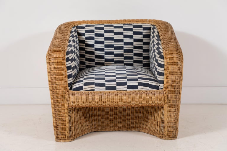 Late 20th Century Pair of Wicker Armchairs Upholstered in Nigerian Fabric