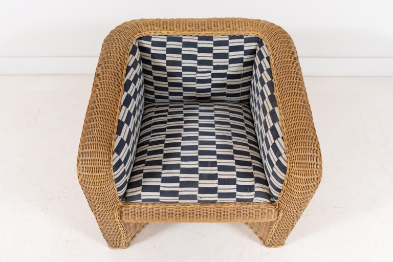 Pair of Wicker Armchairs Upholstered in Nigerian Fabric 1