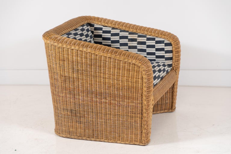 Pair of Wicker Armchairs Upholstered in Nigerian Fabric 2