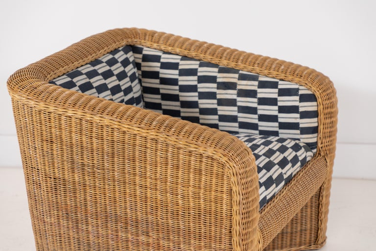 Pair of Wicker Armchairs Upholstered in Nigerian Fabric 4