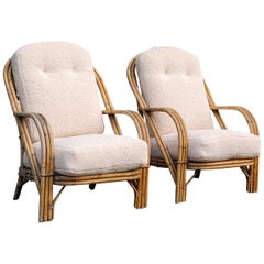 Pair of Wicker Armchairs by Audoux Minnet, France, 1960s