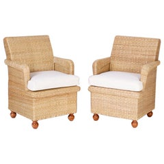 Pair of Wicker Armchairs from the FS Flores Collection by FS Henemader Antiques
