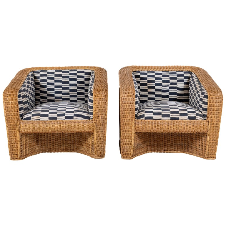 Pair of Wicker Armchairs Upholstered in Nigerian Fabric