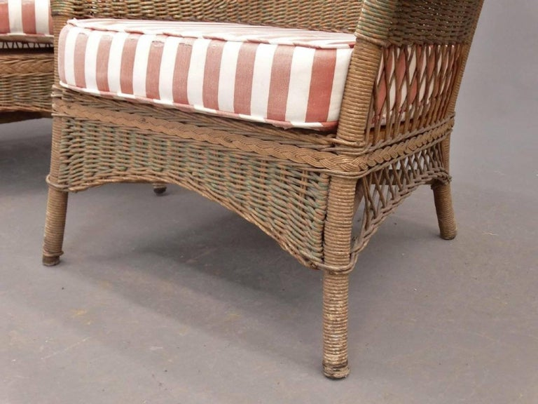 American Pair of Wicker Chairs For Sale