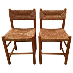 Pair of Wicker Dordogne Chairs by Charlotte Perriand for Sentou, 1950s