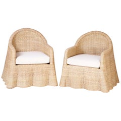 Pair of Wicker Drapery Ghost Armchairs
