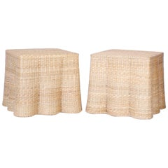 Pair of Wicker Drapery Ghost End Tables or Stands from the Florenzia Collection