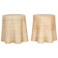 Pair of Wicker Drapery Ghost Tables or Stands from the FS Flores Collection