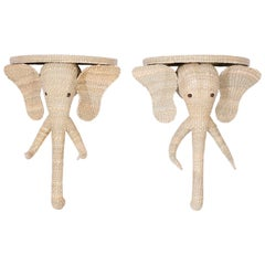 Pair of Wicker Elephant Consoles or Brackets from the FS Flores Collection