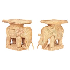 Pair of Wicker Elephant End Tables or Stands