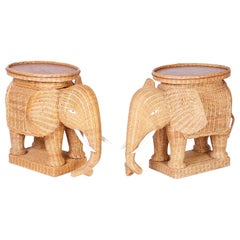 Pair of Wicker Elephant Tabes