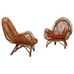 Pair of Wicker Lounge Chairs Attributed to Janine Abraham