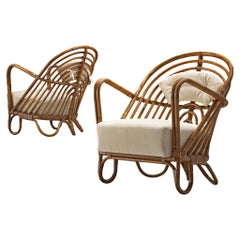 Pair of Wicker Lounge Chairs, Denmark, 1940s