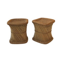 Pair of Wicker Pencil Reed Stools or Benches