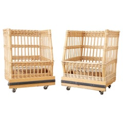 Pair of Wicker Rattan Boulangerie Bread Display Baskets