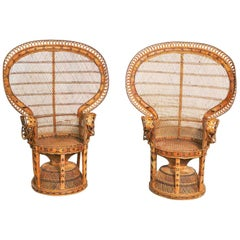 Pair of Wicker Rattan Peacock Fan Back Chairs Vintage Bohemian Hollywood Regency