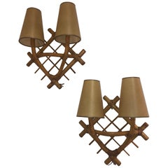 Pair of Wicker Sconces after Jean Royère