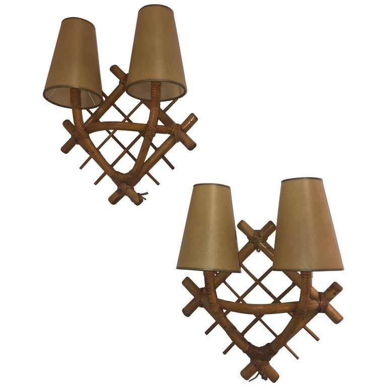 Pair of Wicker Sconces after Jean Royère For Sale