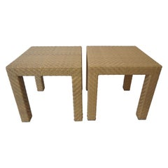 Pair of Wicker Side Tables by Oscar De La Renta