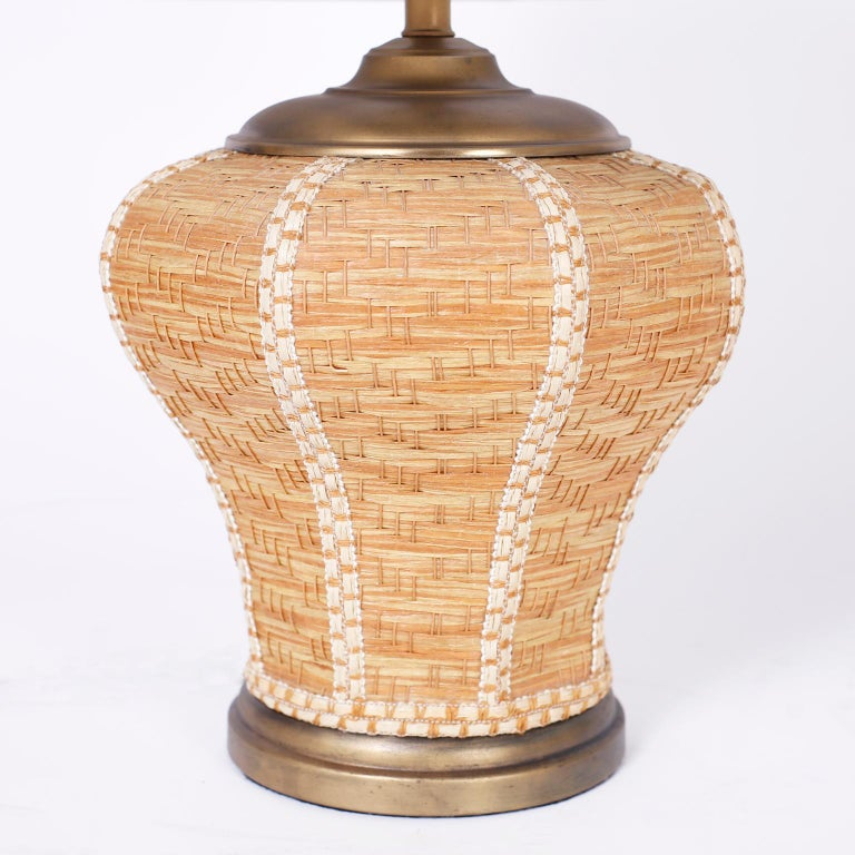 Mid-Century Modern Pair of Wicker Table Lamps For Sale