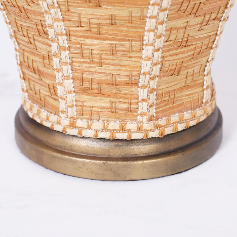 Pair of Wicker Table Lamps In Good Condition For Sale In Palm Beach, FL