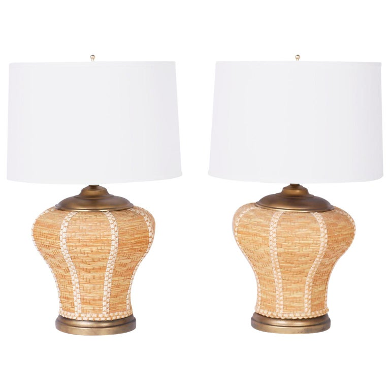 Pair of Wicker Table Lamps For Sale