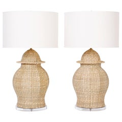 Pair of Wicker Table Lamps with a Chinese Ginger Jar Form