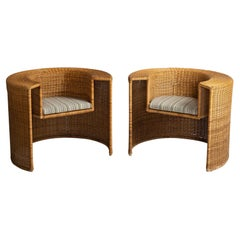 Pair of Wicker Tub Chairs, France, circa 1950