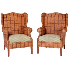 Pair of Wicker Wingback Chairs