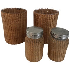 Pair of Wicker Wrapped Cups and Canisters