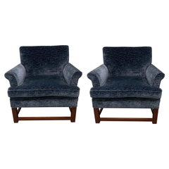 Pair of Widdicomb Dark Blue Newly Upholstered Armchairs