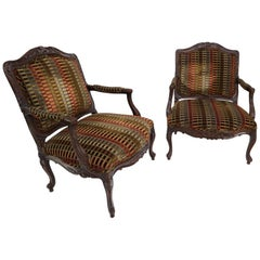 Pair of Wide Carved French Provincial Style Lounge Living Room Fireside Chairs