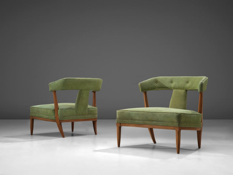 Pair of easy chairs, fabric, beech, American, 1950s from Tomlinson's 'Sophisticate' Collection by John Lubberts and Lambert Mulder.  This pair of American easy chairs are executed in darkened beech and green upholstery. The seat is thick and wide.