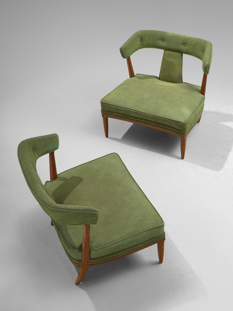 Italian Pair of Wide American Lounge Chairs in Beech and Green Upholstery For Sale