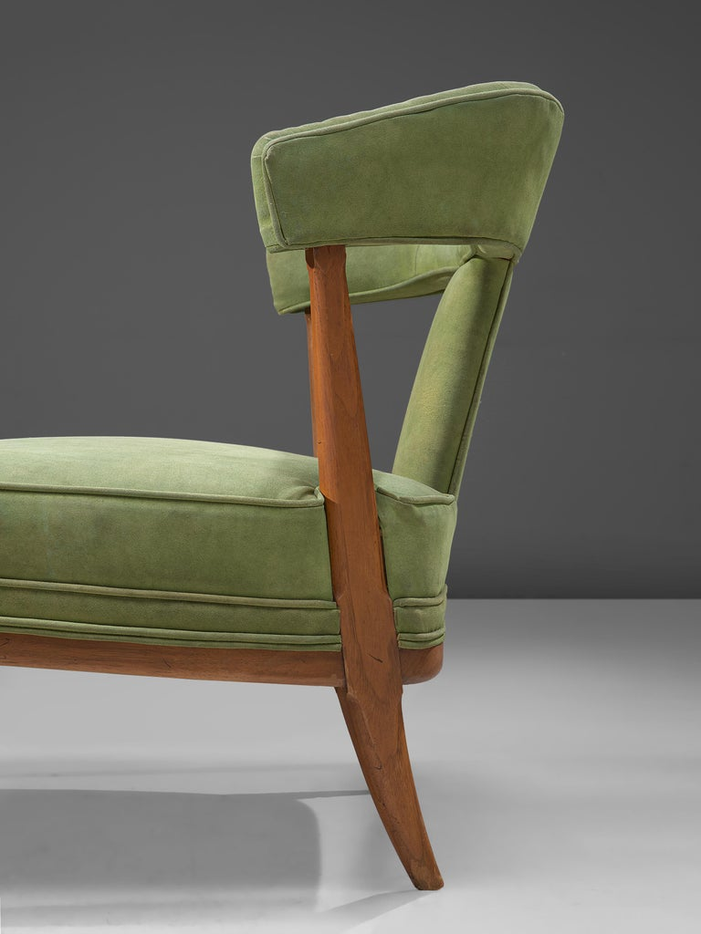 Mid-20th Century Pair of Wide American Lounge Chairs in Beech and Green Upholstery For Sale