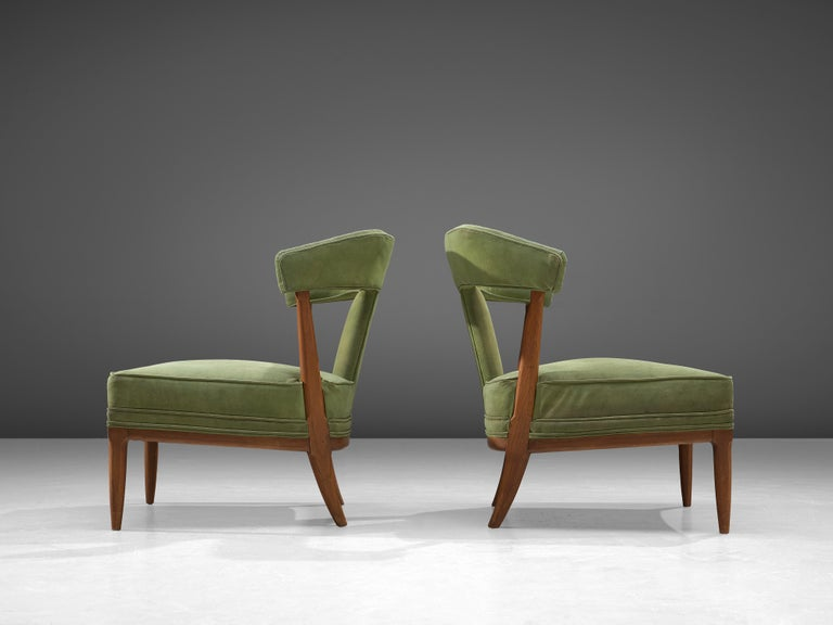 Fabric Pair of Wide American Lounge Chairs in Beech and Green Upholstery For Sale