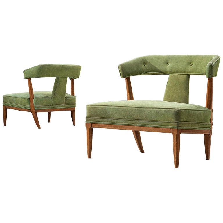 Pair of Wide American Lounge Chairs in Beech and Green Upholstery For Sale