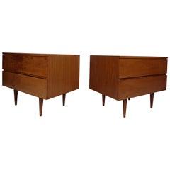 Pair of Wide Mid-Century Modern Walnut Nightstands