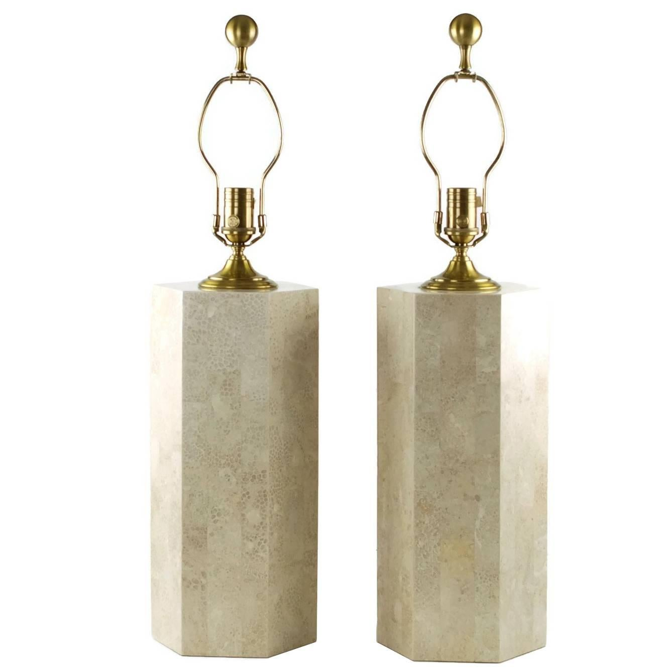 Pair Of Wildwood Tessellated Stone Table Lamps With Brass Trim For Sale