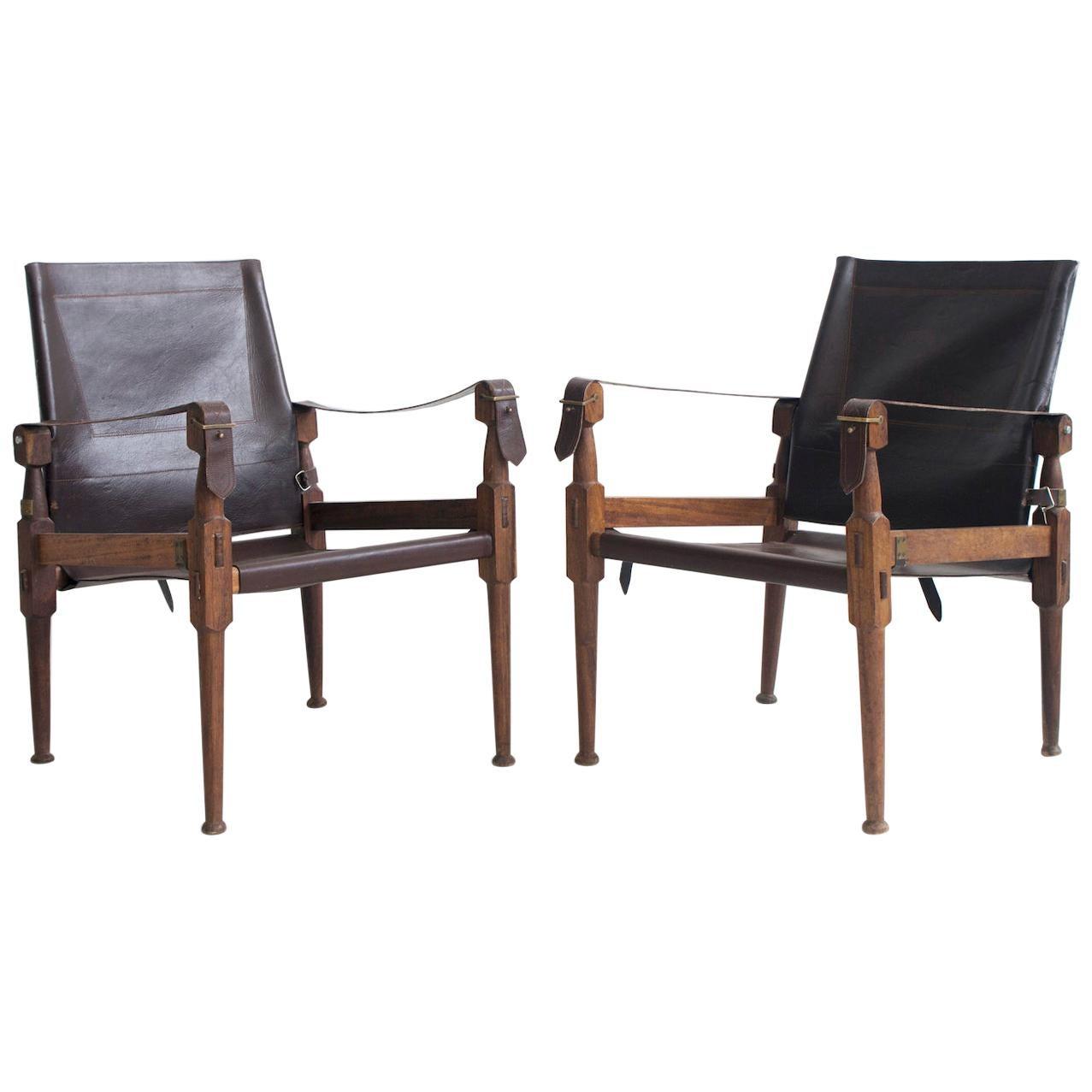 Pair of Wilhelm Kienzle Leather Safari Chairs