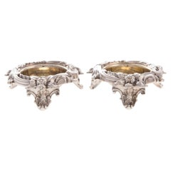 Pair of Wilkinson Gilt Sterling Silver Open Salts in Victorian Style