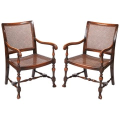 Pair of William and Mary Style Bergere Armchairs