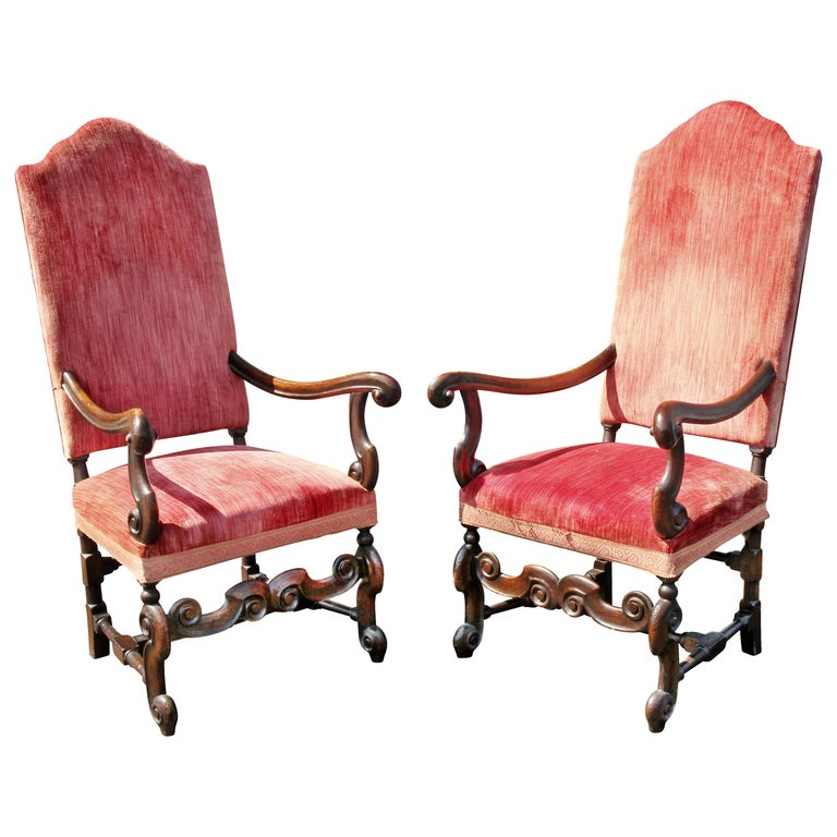 Pair of William and Mary Style Walnut Armchairs For Sale