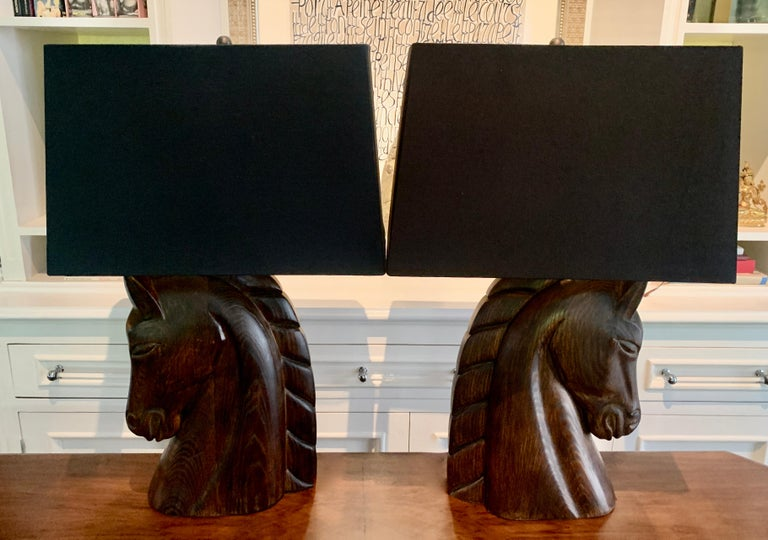 Pair of William Billy Haines Carved Horse Head Lamps For Sale 4