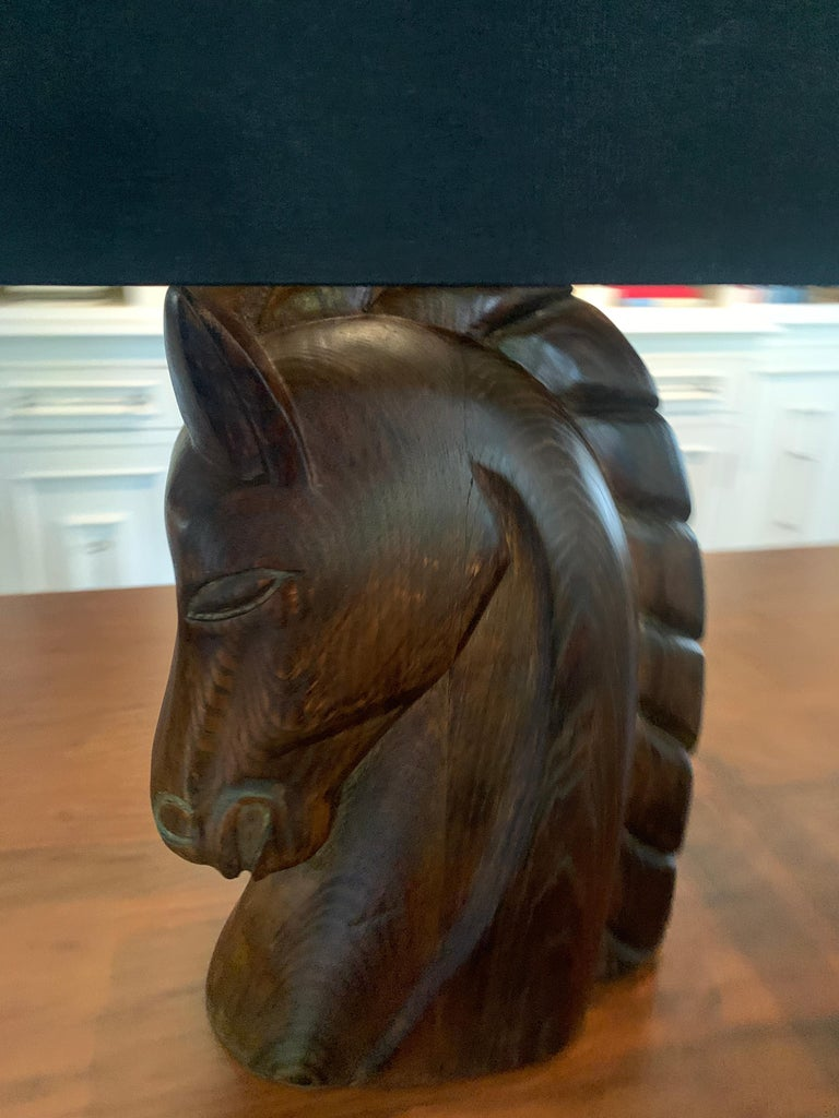Pair of William Billy Haines Carved Horse Head Lamps For Sale 2