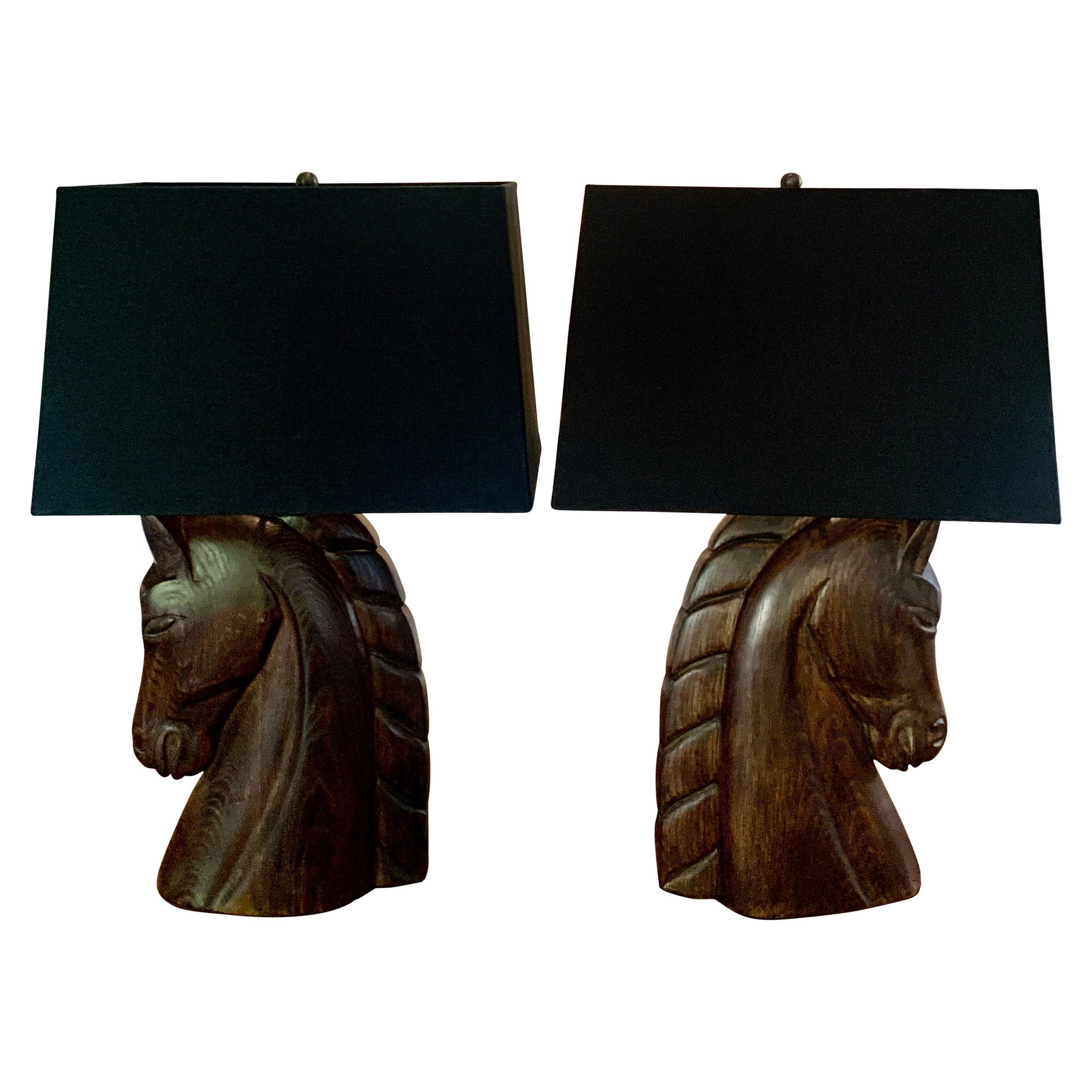 Pair of William Billy Haines Carved  Wooden Horse Head Lamps with Shades