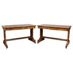 Pair of William IV Burl Elm Writing Tables