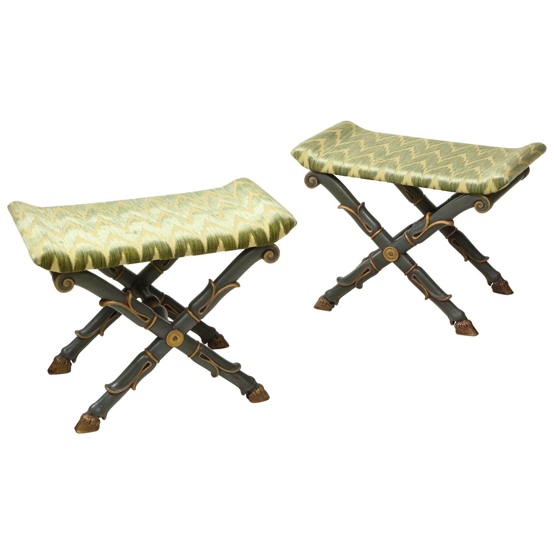 Pair of William IV Green and Gilt X-Form Benches